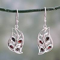 Garnet and smoky quartz dangle earrings, 'Radiant Foliage' - India Silver Handcrafted Smoky Quartz and Garnet Earrings