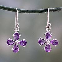 Amethyst dangle earring, 'Lilac Blossom' - Amethyst Flower Earrings Handcrafted of 925 Sterling Silver