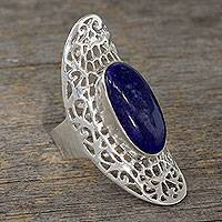 Lapis lazuli cocktail ring, 'Halo of Lace' - Dramatic Sterling Silver Cocktail Ring with Lapis Lazuli