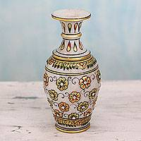 Marble decorative vase, 'Golden Agra Blossoms' - Hand Crafted Makrana Marble Decorative Vase with 22k Gold