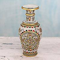 Marble decorative vase, 'Rajasthani Garden' - Makrana Marble Artisan Crafted Decorative Vase with 22k Gold