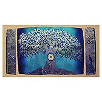 Giclee print on canvas, 'Tree of Life' by Anjali Sapra - Modern India Collectible Color Giclee Print on Canvas