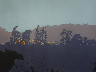 Giclee print on canvas, 'Silent Mountains' by Milind Nayak - India Landscape Color Archival Print on Canvas