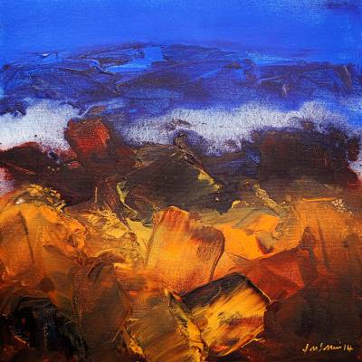 Giclee print on canvas, 'Landscape II' by J.M.S. Mani - Giclee Landscape Theme Artist Print on Canvas