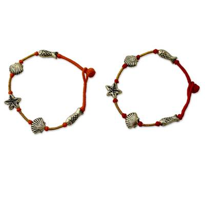 Gold Red and Orange Charm Wristband Bracelets (Pair)