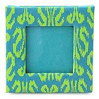 Handmade paper photo frame, 'Fresh Ikat' (2x2 in) - Handcrafted Paper Photo Frame for 2x2 inch Photo
