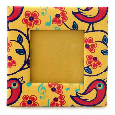 Yellow Print Photo Frame Made From Handmade Paper 2x2 In Chirpy Birds