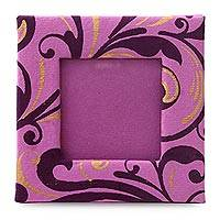 Handmade paper photo frame, 'Fuchsia Flourish' (2x2 in) - Fuchsia Handmade Paper 2x2 In Small Photo Frame