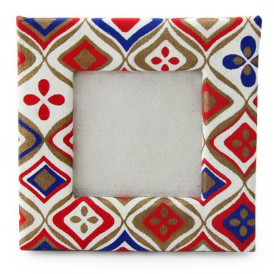 Handmade paper photo frame, 'Illusion' (2x2 in) - Blue Red Gold and White 2x2 In Photo Frame from India