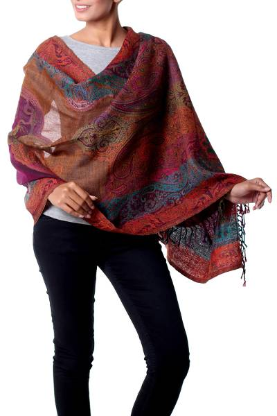 Wool shawl, Modern Paisley Party