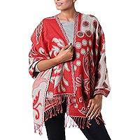 Wool shawl, 'Modern Red Jamawar' - Red and Beige Modern Wool Shawl from India