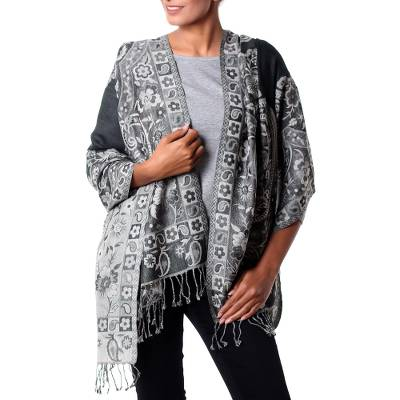 Jamawar wool shawl, 'Paisley Shadow' - Paisley Woven Jamawar Shawl from India in Grey and Green