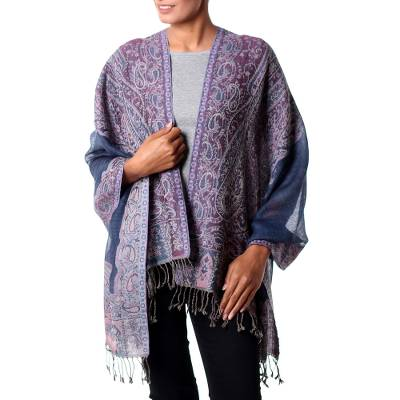 Jamawar wool shawl, 'Orchid Paisley' - Indian Artisan Crafted Lavender Paisley Wool Shawl