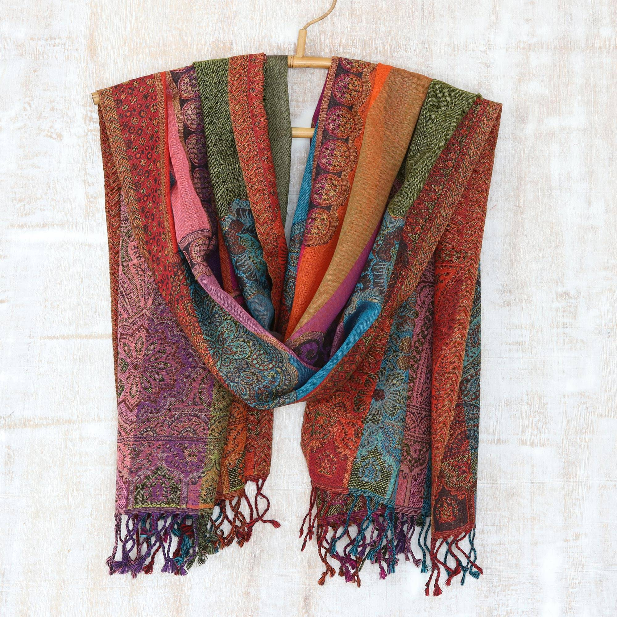 ba34cd01d38b6 UNICEF Market | Striped Multicolor Floral Paisley Wool Shawl ...