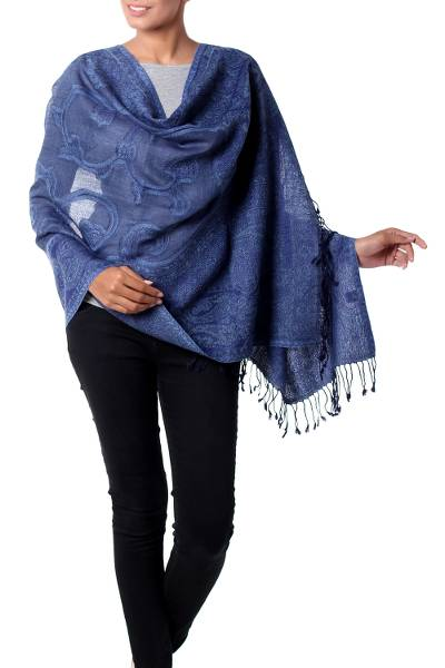 Jamawar wool shawl, 'Glorious Blue' - Jamawar Style Blue Paisley Wool Shawl from India