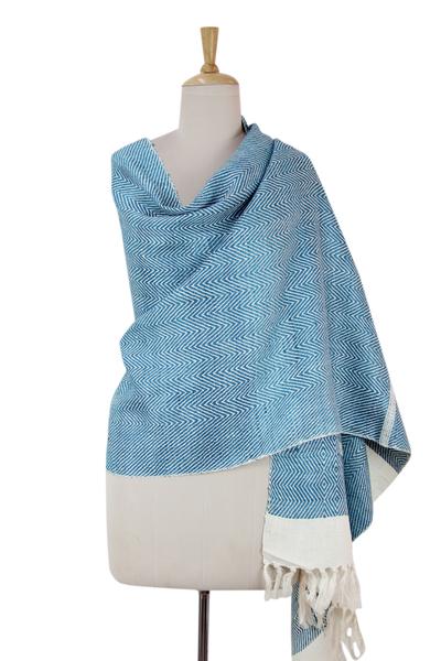 Silk shawl, 'Harmonious Blue Herringbone' - India Handwoven Turquoise and White Silk Shawl
