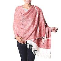 Silk shawl, 'Harmonious Orange Herringbone' - India Orange and White Handwoven Silk Shawl