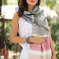 Silk shawl, 'Urban Style' - Colorful Striped Handwoven Tussar Silk Shawl from India