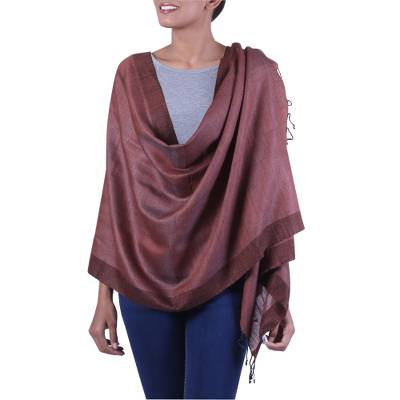 Silk and cotton blend shawl, 'Bhagalpur Dusk' - Tussar Silk and Cotton Brown and Black Handwoven Shawl