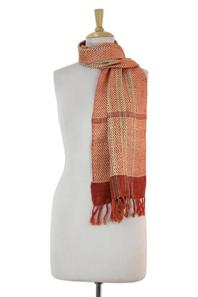 Silk scarf, 'Tangerine Herringbone' - Indian Artisan Handwoven Orange Herringbone Eri Silk Scarf