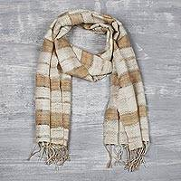 Men's silk scarf, 'Bhagalpuri Style' - Men's Handwoven Indian Eri Silk Scarf in Tan and Ivory