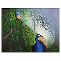 'Bhor' (2013) - Peacocks in the Morning Original Signed Painting from India