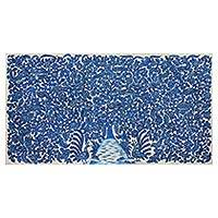 Kalamkari painting, 'Peaceful Blue' - Signed India Kalamkari Folk Art Nature Painting in Blue