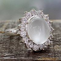 Moonstone cocktail ring, 'Dazzle' - Moonstone and Cubic Zirconia Sterilng Silver Cocktail Ring