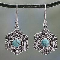 Turquoise dangle earrings, 'Day of Romance' - Indian Artisan Crafted Natural Turquoise Silver Earrings
