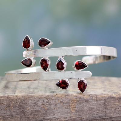 Garnet cuff bracelet, 'Red Forest Fern' - Sterling Silver Cuff Garnet Bracelet Modern Jewelry