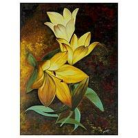 'Floral Delight' - Signed Painting of Yellow Flowers by Indian Artist