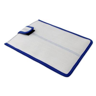 Upcycled Fire Hose 9-inch Tablet Sleeve in White and Blue