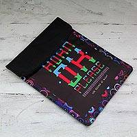 Upcycled truck banner tablet sleeve, 'Masala Mileage' - Upcycled Vinyl Banner 9-inch iPad Tablet Sleeve