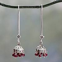 Garnet dangle earrings, 'Bride of India'
