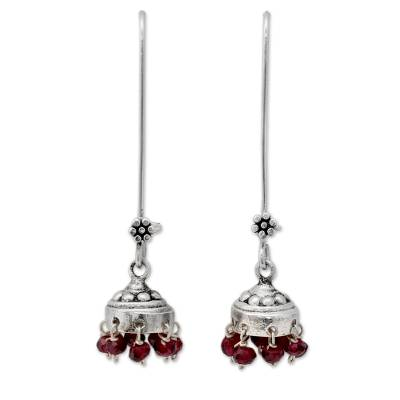 Garnet dangle earrings, 'Bride of India' - Sterling Silver and Garnet Jhumki Earrings from India