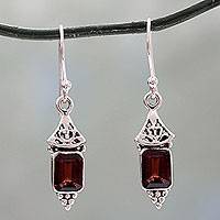 Garnet dangle earrings, 'Red Lantern'