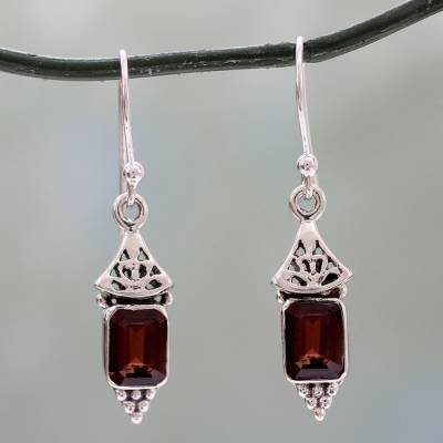 Garnet dangle earrings, 'Red Lantern' - Handcrafted Indian Sterling Silver and Garnet Earrings