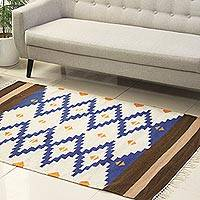 Wool dhurrie rug, 'Blue Light' (4x6) - Hand Woven Wool Dhurrie Rug in Blue and White (4x6)