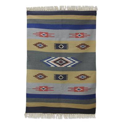 Wool dhurrie rug, 'Symphony of Dawn' (4x6) - Hand Woven Wool Dhurrie Rug in Blue Grey and Brown (4x6)
