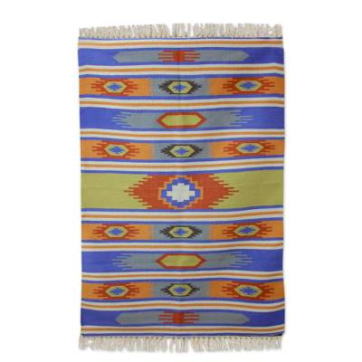 Wool dhurrie rug, 'Holi Delhi' (4x6) - Hand Woven Multi Color Wool Dhurrie Rug from India (4x6)