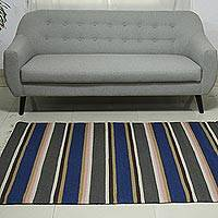 Wool dhurrie rug, 'Singular Parallelism' (4x6) - Hand Woven Wool Indian Dhurrie Striped Area Rug (4x6)