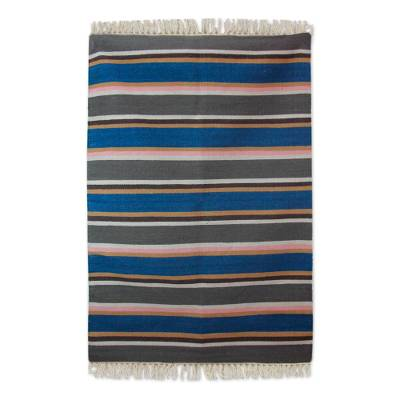 Wool dhurrie rug, 'Singular Parallelism' (4x6) - Fair Trade Multi colour Striped Indian Dhurrie Area Rug in 1