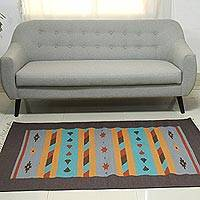 Wool dhurrie rug, 'Dream Stars' (4x6) - Multi Color Hand Woven Dhurrie Wool Rug from India (4x6)