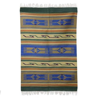 Wool dhurrie rug, 'Hands of Friendship' (4x6) - Hand Woven Wool Indian Dhurrie Patterned Area Rug (4x6)