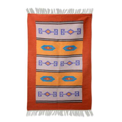 Wool dhurrie rug, 'Geometric Morning' (4x6) - Hand Woven Wool Indian Dhurrie Patterned Area Rug (4x6)