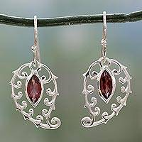 Garnet dangle earrings, 'Shimmering Boteh' - Sterling Silver Paisley Earrings with Garnet Made in India