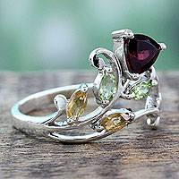 Multigemstone flower ring, 'Rosebud Glory'