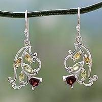 Multigemstone flower earrings, 'Rosebud Glory' - Multigemstone Flower Earrings Crafted with Sterling Silver
