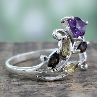 Multigemstone flower ring, 'Glorious Rosebud' - Indian Multigemstone Flower on Sterling Silver Ring