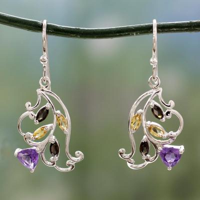 Multigemstone flower earrings, 'Glorious Rosebud' - Multigemstone Sterling Silver Flower Earrings